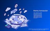 Money transactions vector concept