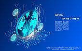 Global money transfer vector concept