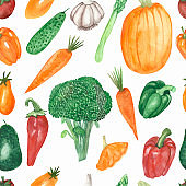 Watercolor hand painted nature garden plants seamless pattern with orange carrot, pumpkin, tomato, red bell, chili pepper, green broccoli, asparagus, avocado vegetable isolated on the white background
