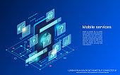 Mobile phone services vector concept