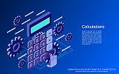 Cartoon calculator vector concept