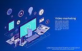 Video marketing vector concept