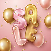 Sale background with pink and gold floating balloons