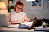 Woman working late alone with a cat