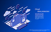 Cloud data protection vector concept