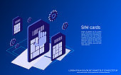 Mobile phone SIM cards vector concept