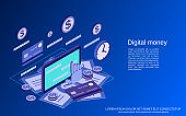 Digital money vector concept