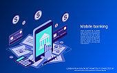 Mobile banking vector concept