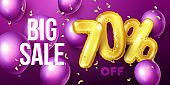 Big sale background with gold and purple floating balloons