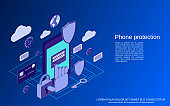 Phone protection vector concept