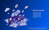 Money transfer vector concept