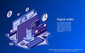 Digital wallet vector concept