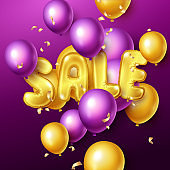 Sale background with yellow and purple floating balloons