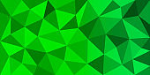 Green color polygonal vector background. Can be used in cover design, website background. Vector eps 10.