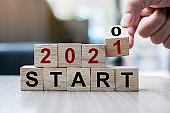 Businessman hand holding wooden cube with flip over block 2020 to 2021 START word on table background. Resolution, strategy, solution, goal, business and New Year holiday concepts