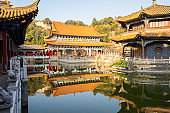scenic of Yuantong Temple, the most famous Buddhist temple in Kunming. landmark and popular for tourists attractions in Kunming, Yunnan, China. Asia travel concept