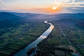 Drone view of river Drina