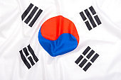 Natural fabric flag of South Korea