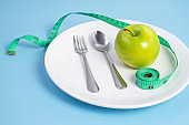 Top view spoon and fork, green apple on white ceramic plate with green Measuring tape on blue  background. dieting, weight loss, obesity and food control concept