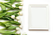 Frame for text and white tulip on white. Top view.