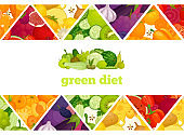 Vector banner with colorful backgrounds made of vegetables and fruits. Green diet for vegans.