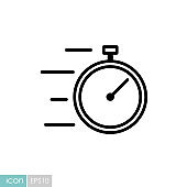Fast delivery vector icon. Stopwatch with speed