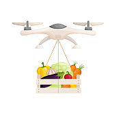 Delivery of food and goods by drones. Vector illustration.