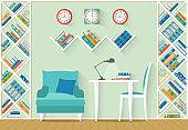 Design study room. Vector illustration.  Interior concept