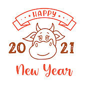Happy Chinese New Year of the bull. Illustration with the inscription Happy New Year and the face of a cow - the symbol of the new year according to the Eastern calendar. Vector.