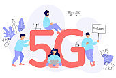 5G network wireless. Vector concept with people and gadgets. High speed internet.