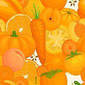 Pattern of orange food. Seamless vector background.