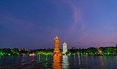 Sun and moon pagodas in Guilin at night
