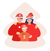 Christmas family vector flat portrait. Cute happy mother, father and baby