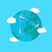 Travel the world. Planes fly around the world