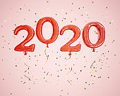 Happy new year 2020 banner. Red balloons numeral 2020 and glittering confetti on the pink background. Clipping path included