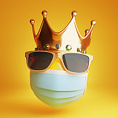 Sad emoji with a medical mask, sunglass and a royal crown. Isolated, clipping path included.