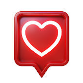 3d social media notification. Shiny heart symbol in red rounded square pin.  Isolated on white background, clipping path included.