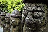 Dol hareubang rock statues in Jeju, Korea