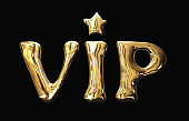 "3d golden metal text ""VIP"". Isolated, clipping path included"