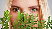 Natural organic skin care, the concept of harmony with nature, green long fern leaves grass near the face. portrait of beauty ladies. Young beautiful woman with clean sparkling skin of face and body.
