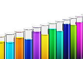 Colored liquids in test tubes isolated on a white background. Clipping path included