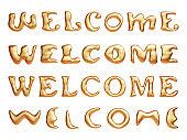 "3d golden metal text ""welcome"". Isolated on white background, clipping path included"