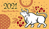 The Year of the Ox. Chinese New Year 2021 design template with wishing. Vector hand drawn ink sketch illustration with standing cow and decorations on yellow background