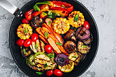 Grilled Vegetable Platter with Zucchini, mushrooms, eggplant, carrots, pepper bell, tomato, onions, corn, and Yogurt Mint Sauce