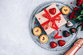 Valentine Day background gift box with chocolate and cookie hearts