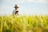 girl using tablet for agriculture