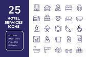 Hotel Services Line Icon Design