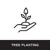 Tree Planting Outline Icon Design