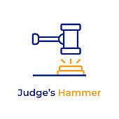 Judge Hammer line color icon