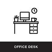 Office Desk Outline Icon Design